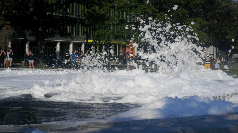 Pranksters Flood UBC Fountain With Soap