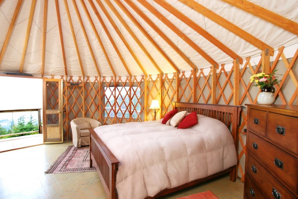 For a unique travel experience—stay in a yurt, which is a circular tent often used by nomads. The yurts allow you to stay amongst the nature, looking out at a beautiful landscape and it's close to plenty of walking trails.