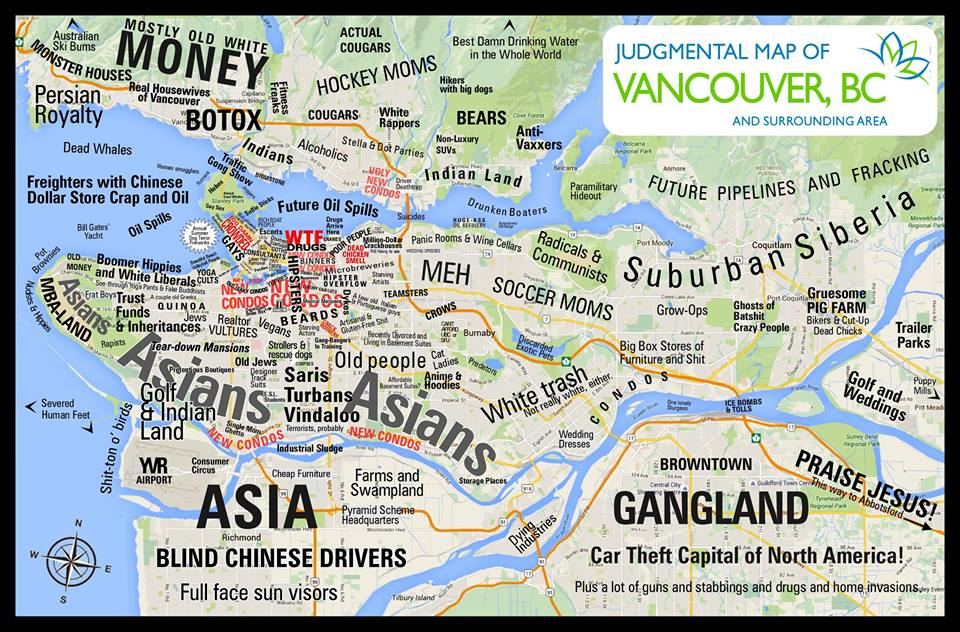 Judgemental Map Blows Up Metro Vancouver Stereotypes  604 Now