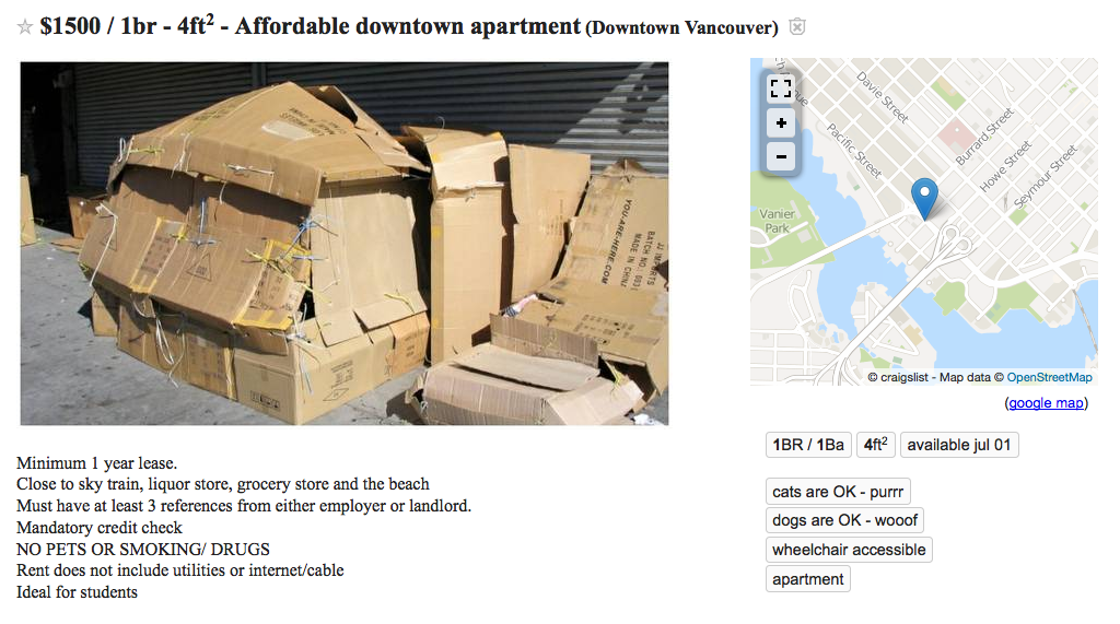 Newly Constructed Downtown Apartment Hits The Craigslist ...