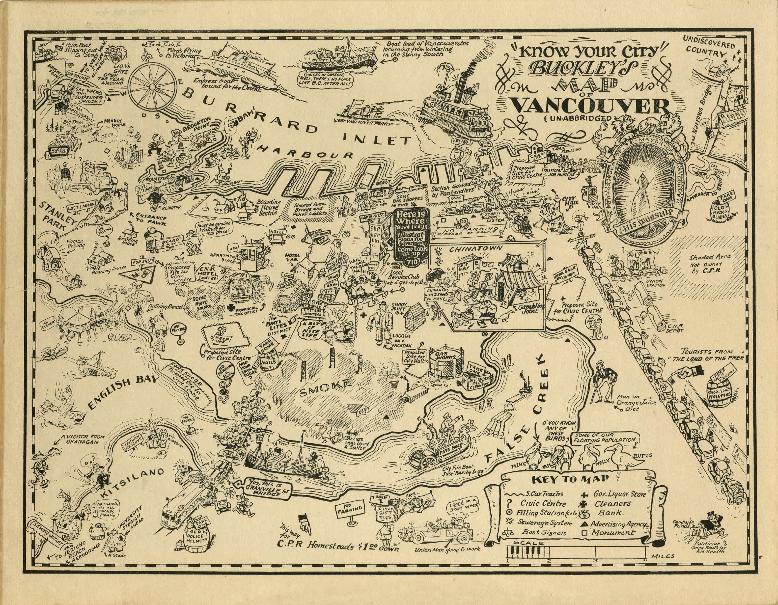 Nearly Century Old Map Of Vancouver Paints A Comical Portrait Of