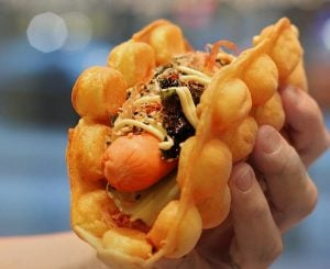 bubble waffle hot dog