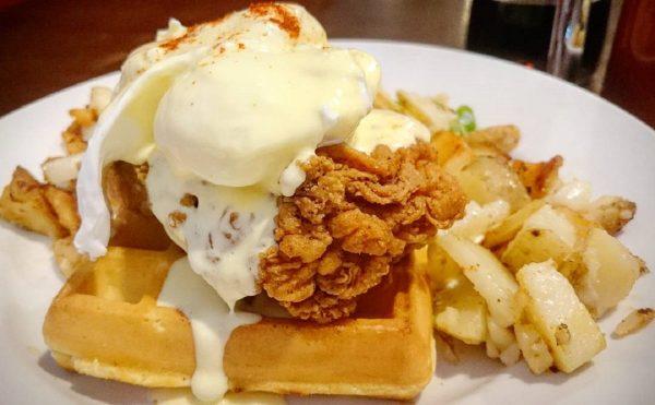 fried chicken waffle eggs benny
