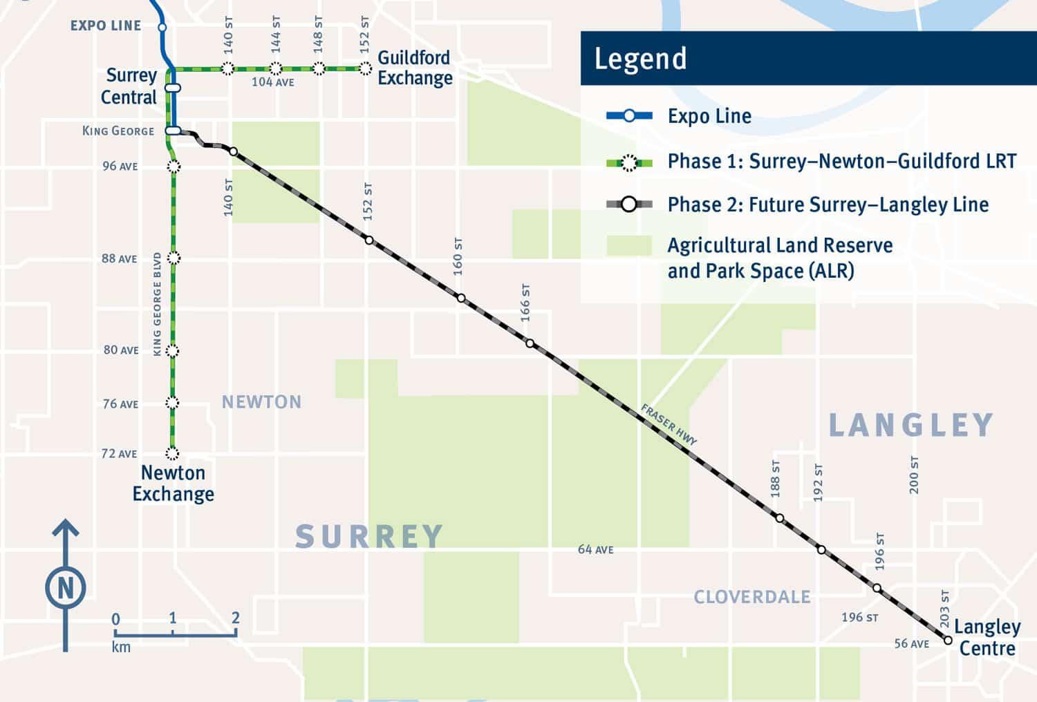 The planned LRT expansion to Langley