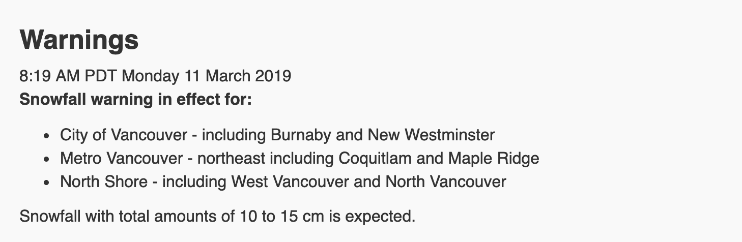 Vancouver weather warning