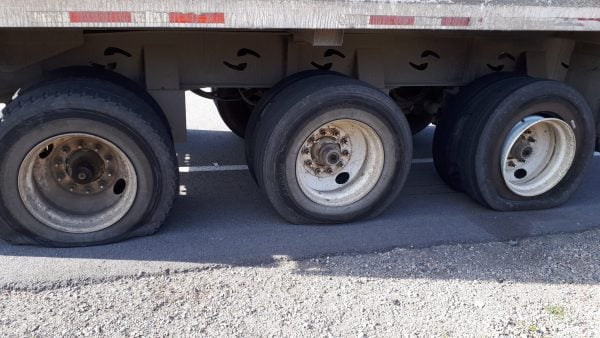 Truck Driving With Six Flat Tires