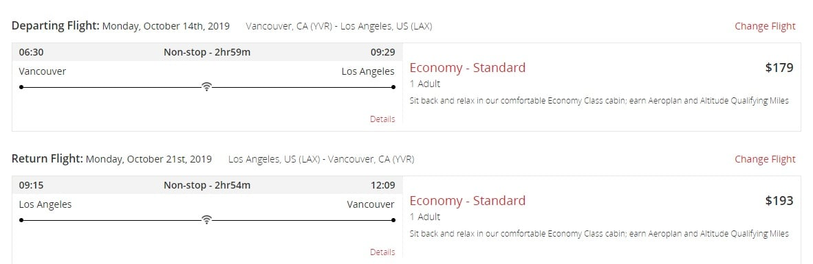 Air Canada Sale: Vancouver To Los Angeles
