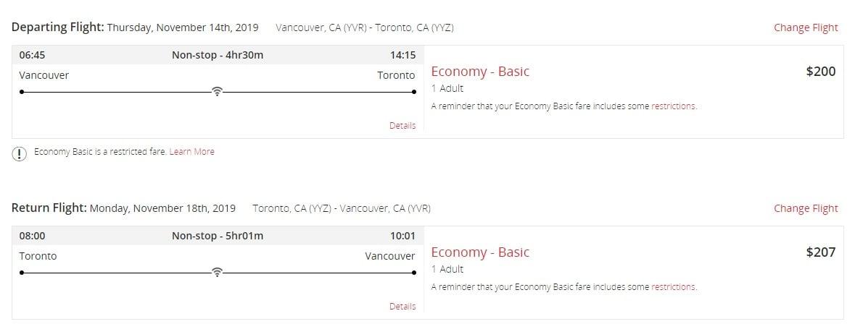 Air Canada Sale: Vancouver To Toronto