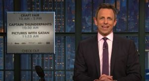 """Pictures With Satan"": BC Newspaper Typo Goes Viral Due To Seth Meyers (VIDEO)"