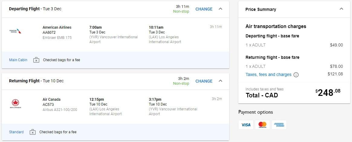 Vancouver Flights To Los Angeles