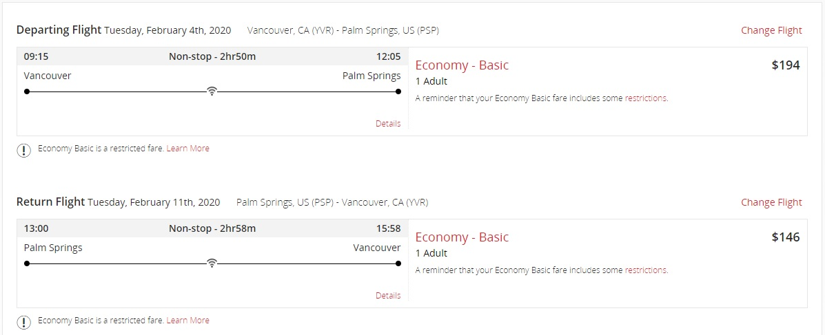 Air Canada Worldwide Seat Sale - Vancouver To Palm Springs California
