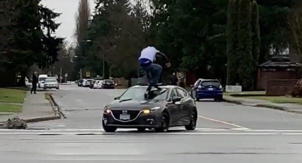 Ridge Meadows RCMP Man Jumping On Moving Vehicle