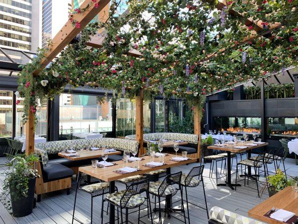 black + blue rooftop garden patio