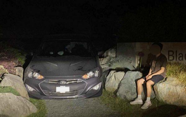 crescent beach trapped car