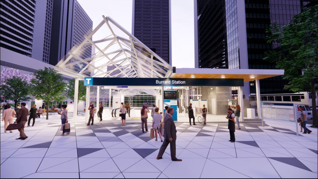 burrard skytrain entrance rendering